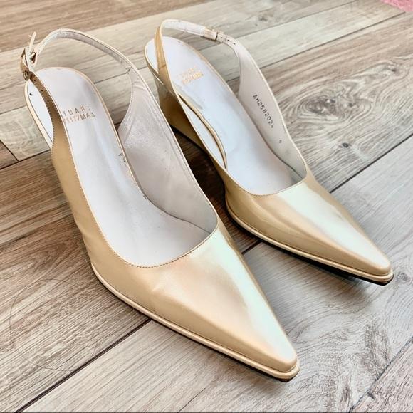 Stuart Weitzman Shoes - Stuart Weitzman | Gold Heels | Size 9